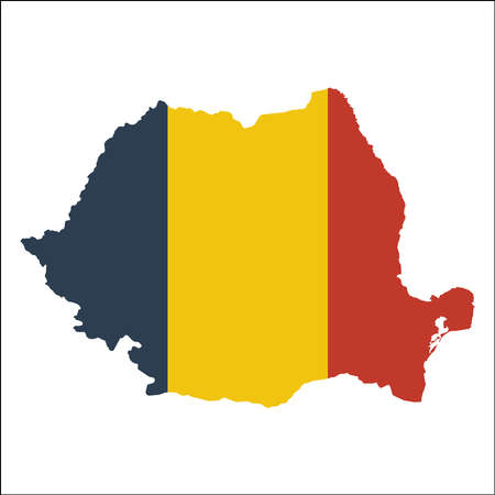 rom: Romania high resolution map with national flag. Flag of the country overlaid on detailed outline map isolated on white background. Illustration