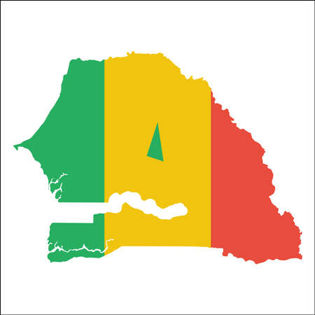 Senegal high resolution map with national flag. Flag of the country overlaid on detailed outline map isolated on white background. Illustration
