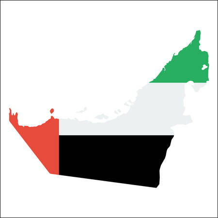 United Arab Emirates high resolution map with national flag. Flag of the country overlaid on detailed outline map isolated on white background.