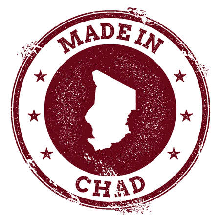 Chad vector seal. Vintage country map stamp. Grunge rubber stamp with Made in Chad text and map, vector illustration. Иллюстрация