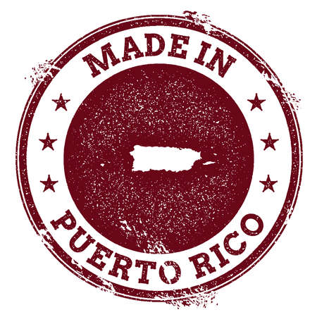 Puerto Rico vector seal. Vintage country map stamp. Grunge rubber stamp with Made in Puerto Rico text and map, vector illustration.