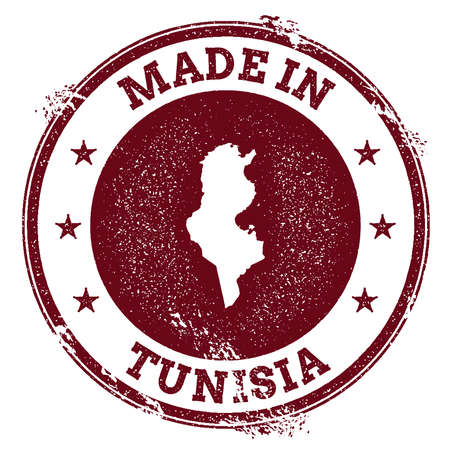 Tunisia vector seal. Vintage country map stamp. Grunge rubber stamp with Made in Tunisia text and map, vector illustration. Illustration