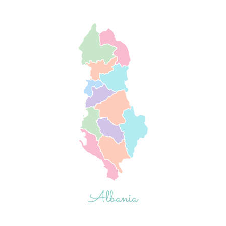 Albania region map colorful with white outline detailed map albania region map colorful with white outline detailed map of albania regions vector publicscrutiny Choice Image