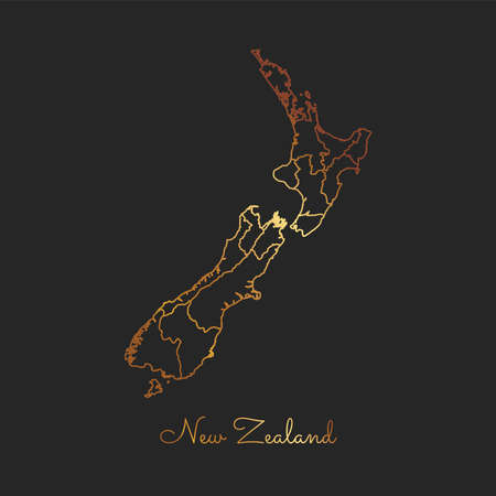 New Zealand region map: golden gradient outline on dark background. Detailed map of New Zealand regions. Vector illustration. Illustration