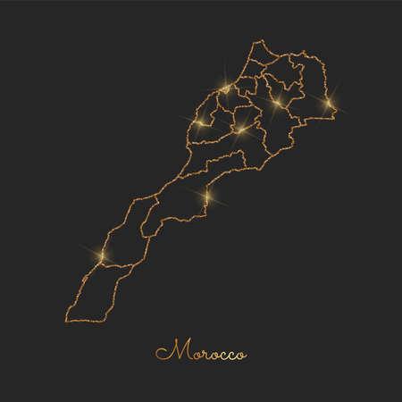 Morocco region map: golden glitter outline with sparkling stars on dark background. Detailed map of Morocco regions. Vector illustration.