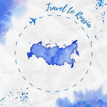 Russia watercolor map in blue colors. Travel to Russia poster with airplane trace and handpainted watercolor Russia map on crumpled paper. Vector illustration. Çizim