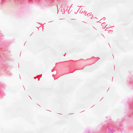 Timor-Leste watercolor map in red colors. Visit Timor-Leste poster with airplane trace and handpainted watercolor Timor-Leste map on crumpled paper. Vector illustration.