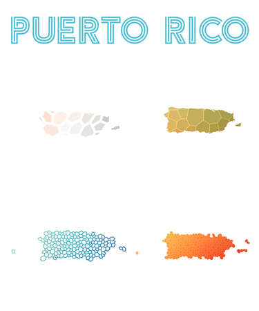Puerto Rico polygonal map. Mosaic style maps collection. Bright abstract tessellation, geometric, low poly, modern design. Puerto Rico polygonal maps for infographics or presentation.