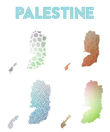 Palestine polygonal map. Mosaic style maps collection. Bright abstract tessellation, geometric, low poly, modern design. Palestine polygonal maps for infographics or presentation.