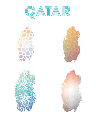 Qatar polygonal map. Mosaic style maps collection. Bright abstract tessellation, geometric, low poly, modern design. Qatar polygonal maps for infographics or presentation.