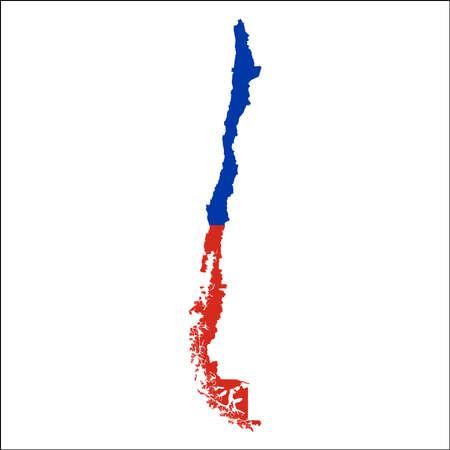 칠레 국기와 함께 고해상도지도입니다. 흰색 배경에 고립 된 자세한 개요지도에 겹쳐 나라의 국기.