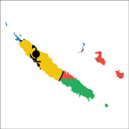 New Caledonia high resolution map with national flag. Flag of the country overlaid on detailed outline map isolated on white background.