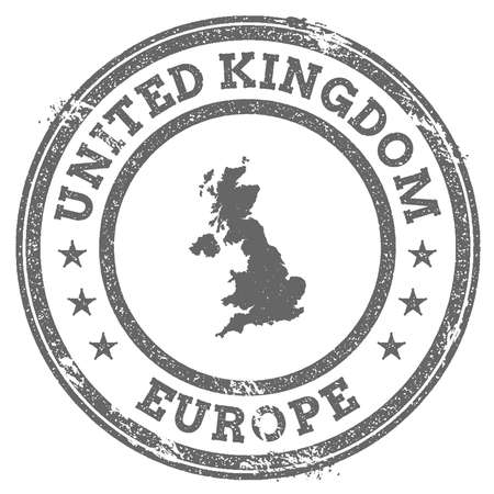 irish map: United Kingdom grunge rubber stamp map and text. Round textured country stamp with map outline. Vector illustration.