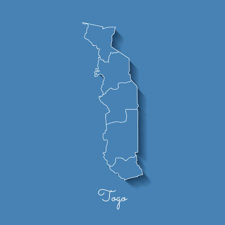 Togo region map: blue with white outline and shadow on blue background. Detailed map of Togo regions. Vector illustration. Illustration