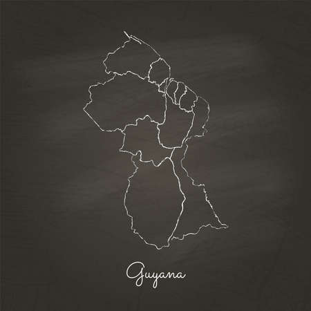 Guyana region map: hand drawn with white chalk on school blackboard texture. Detailed map of Guyana regions. Vector illustration. Illustration