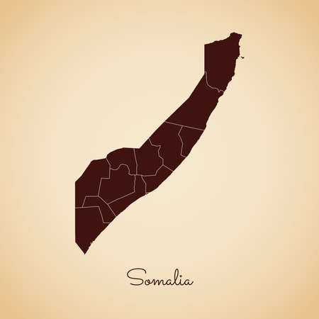 Somalia region map: retro style brown outline on old paper background. Detailed map of Somalia regions. Vector illustration. Illustration