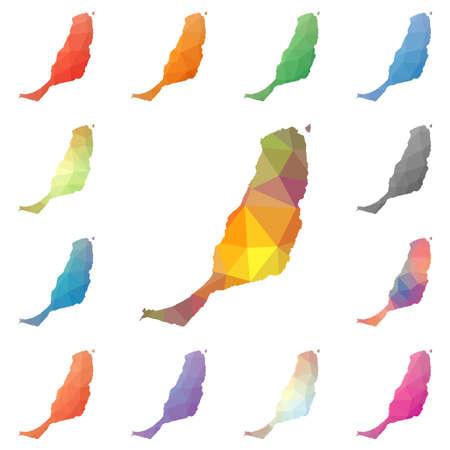 Fuerteventura 기하학적 인 다각형, 모자이크 스타일의 섬지도 컬렉션. 밝은 추상 tessellation, 낮은 폴 리 에스테 르, 현대적인 디자인. 귀하의 infographics 또는