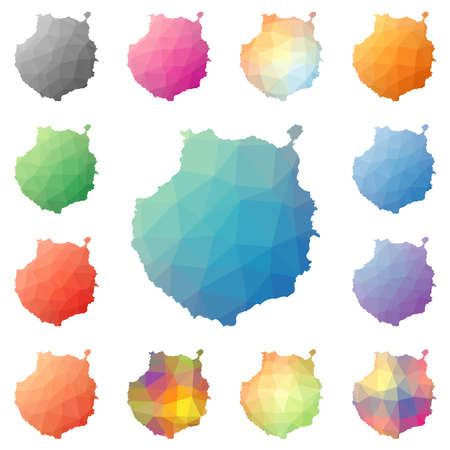 madrid: Gran Canaria geometric polygonal, mosaic style island maps collection. Bright abstract tessellation, low poly style, modern design. Gran Canaria polygonal maps for your infographics or presentation.
