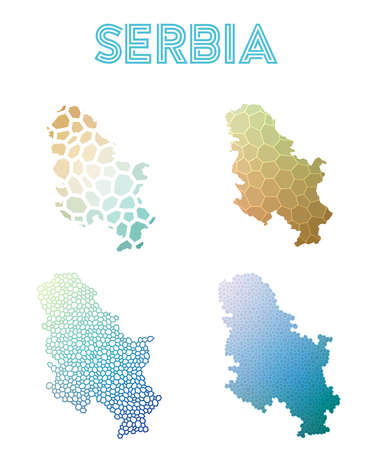Serbia polygonal map. Mosaic style maps collection. Bright abstract tessellation, geometric, low poly, modern design. Serbia polygonal maps for infographics or presentation.
