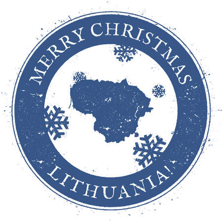 Lithuania map. Vintage Merry Christmas Lithuania Stamp. Stylised rubber stamp with county map and Merry Christmas text, vector illustration. Illustration
