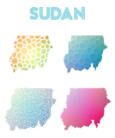 Sudan polygonal map. Mosaic style maps collection. Bright abstract tessellation, geometric, low poly, modern design. Sudan polygonal maps for infographics or presentation. Illustration