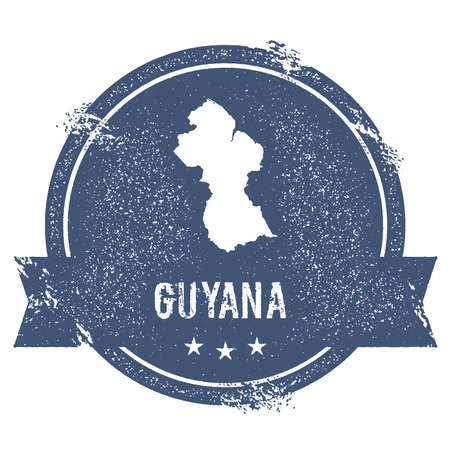 Guyana mark. Travel rubber stamp with the name and map of Guyana, vector illustration. Can be used as insignia, logotype, label, sticker or badge of the country.