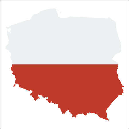 Poland high resolution map with national flag. Flag of the country overlaid on detailed outline map isolated on white background.