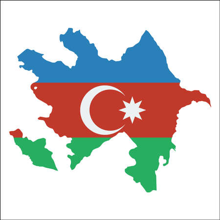 Azerbaijan high resolution map with national flag. Flag of the country overlaid on detailed outline map isolated on white background.