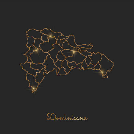 Dominicana region map: golden glitter outline with sparkling stars on dark background. Detailed map of Dominicana regions. Vector illustration.
