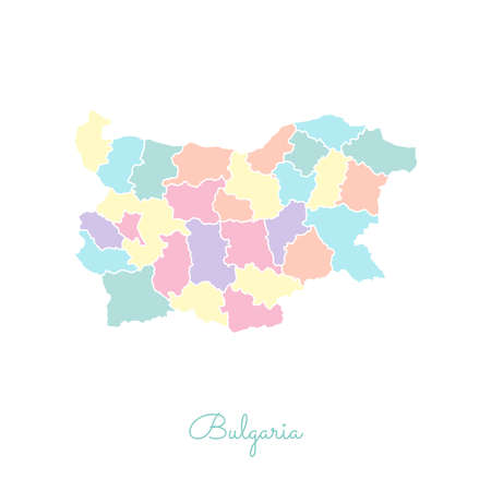 Bulgaria region map: colorful with white outline. Detailed map of Bulgaria regions. Vector illustration.