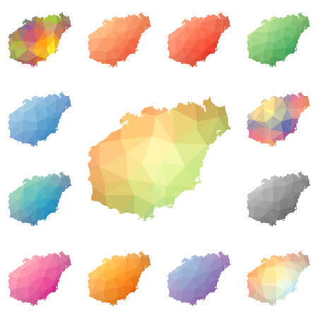 Hainan geometric polygonal, mosaic style island maps collection. Bright abstract tessellation, low poly style, modern design. Hainan polygonal maps for your infographics or presentation.