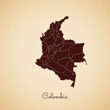 Colombia region map: retro style brown outline on old paper background. Detailed map of Colombia regions. Vector illustration.