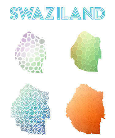 Swaziland polygonal map. Mosaic style maps collection. Bright abstract tessellation, geometric, low poly, modern design. Swaziland polygonal maps for infographics or presentation.