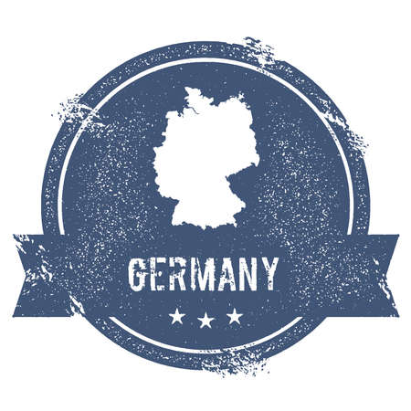 Germany mark. Travel rubber stamp with the name and map of Germany, vector illustration. Can be used as insignia, logotype, label, sticker or badge of the country. Illustration