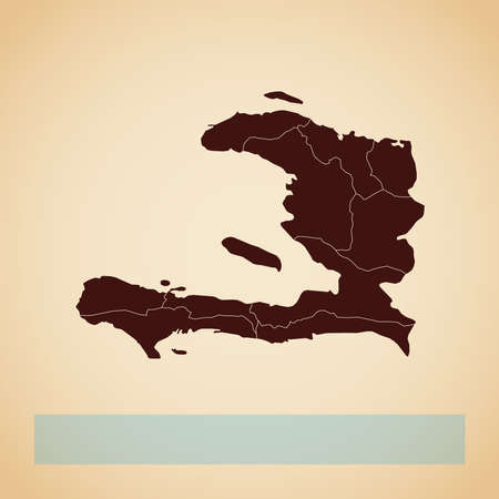 Haiti region map: retro style brown outline on old paper background. Detailed map of Haiti regions. Vector illustration.
