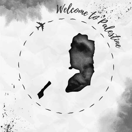pals: Palestine watercolor map in black colors. Welcome to Palestine poster with airplane trace and handpainted watercolor Palestine map on crumpled paper. Vector illustration.