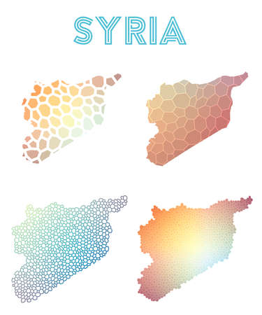 Syria polygonal map. Mosaic style maps collection. Bright abstract tessellation, geometric, low poly, modern design. Syria polygonal maps for infographics or presentation. Illustration