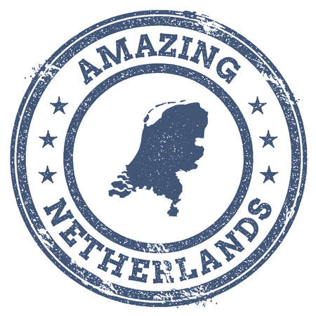 Vintage Amazing Netherlands travel stamp with map outline. Netherlands travel grunge round sticker. Illusztráció