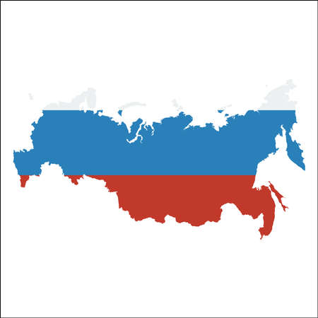 Russian Federation high resolution map with national flag. Flag of the country overlaid on detailed outline map isolated on white background.