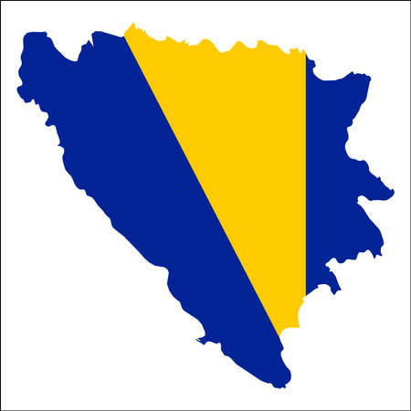 Bosnia and Herzegovina high resolution map with national flag. Flag of the country overlaid on detailed outline map isolated on white background.