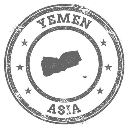 Yemen grunge rubber stamp map and text. Round textured country stamp with map outline. Vector illustration. Фото со стока - 87281554