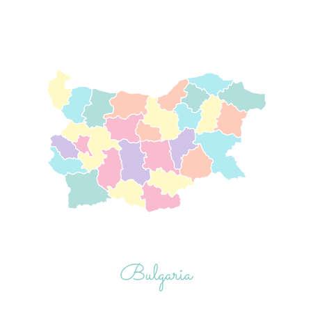 ブルガリア地域マップ: アウトラインを白とカラフルな。ブルガリアの地域の詳細地図。ベクトルの図。