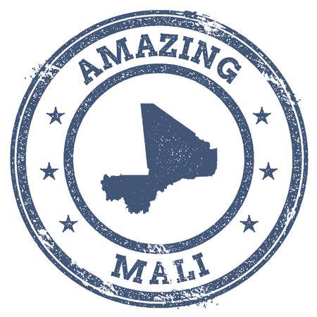 clutter: Vintage Amazing Mali travel stamp with map outline. Mali travel grunge round sticker. Illustration
