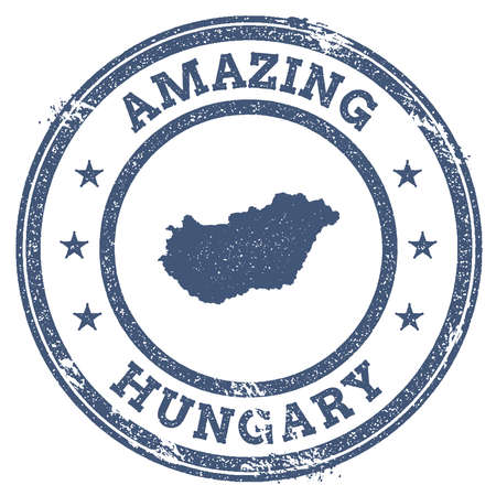 clutter: Vintage Amazing Hungary travel stamp with map outline. Hungary travel grunge round sticker.