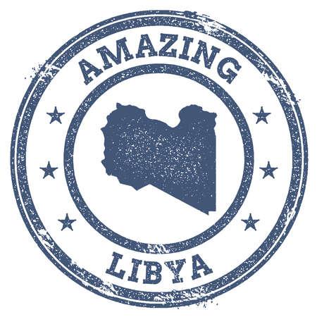 clutter: Vintage Amazing Libya travel stamp with map outline. Libya travel grunge round sticker.