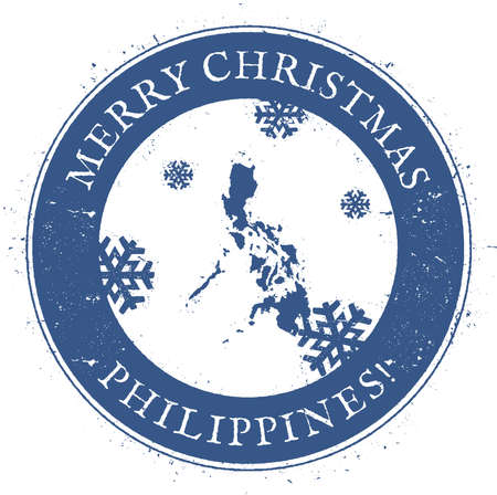 celebrate: Philippines map. Vintage Merry Christmas Philippines Stamp. Stylised rubber stamp with county map and Merry Christmas text, vector illustration.