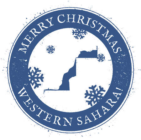 celebrate: Western Sahara map. Vintage Merry Christmas Western Sahara Stamp. Stylised rubber stamp with county map and Merry Christmas text, vector illustration.