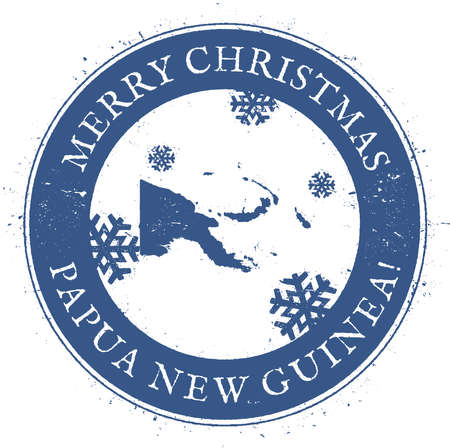 celebrate: Papua New Guinea map. Vintage Merry Christmas Papua New Guinea Stamp. Stylised rubber stamp with county map and Merry Christmas text, vector illustration.