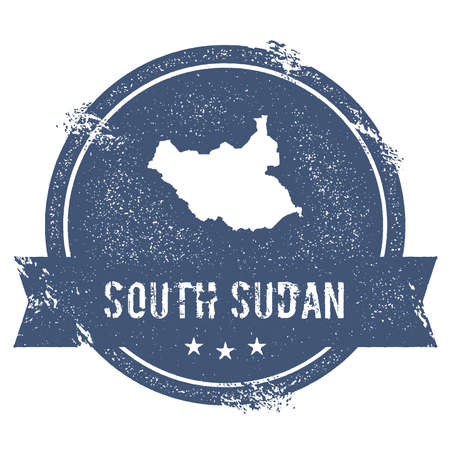 clutter: South Sudan mark. Travel rubber stamp with the name and map of South Sudan, vector illustration. Can be used as insignia, logotype, label, sticker or badge of the country.