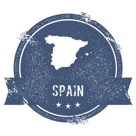 clutter: Spain mark. Travel rubber stamp with the name and map of Spain, vector illustration. Can be used as insignia, logotype, label, sticker or badge of the country.